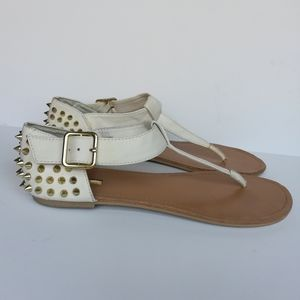Wild Pair Women's White Thong Sandals Gold Spikes